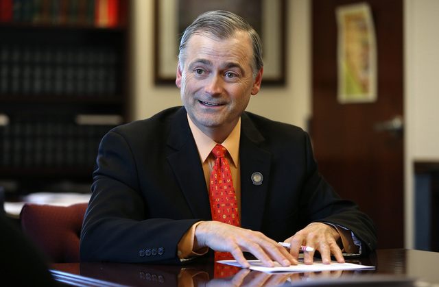 Nevada Sen. James Settelmeyer, R-Minden, talks in his office at the Legislative Building in Carson City on Wednesday, May 27, 2015. Settelmeyer, who sponsored a bill to replace Nevada's presidenti ...