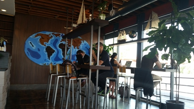Coffeebar-style seating is shown at PublicUs. (Lisa Valentine/View)