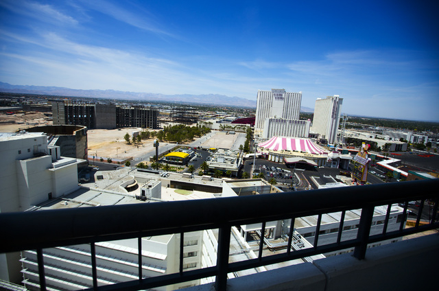 A view of the Las Vegas Strip is seen from the Frank Sinatra suite at the closed Riviera hotel-casino, 2901 South Las Vegas Boulevard, on Wednesday, May 13, 2015.Former employees were able to purc ...