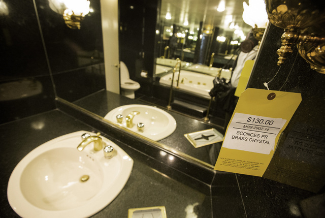 The master bathroom of the Frank Sinatra suite is seen during the liquidation sale at the closed Riviera hotel-casino, 2901 South Las Vegas Boulevard. Former employees were able to purchase mercha ...