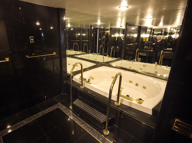 The whirlpool bath tub in the Frank Sinatra suite is seen Wednesday, May 13, 2015 during the liquidation sale at the closed Riviera hotel-casino, 2901 South Las Vegas Boulevard. Former employees w ...