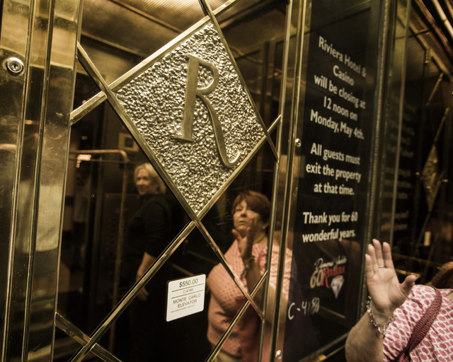Long time former Riviera employee Barbara Kindt stands in the elevator of the Riviera hotel-casino, 2901 South Las Vegas Boulevard, during the liquidation sale at the closed hotel on Wednesday, Ma ...