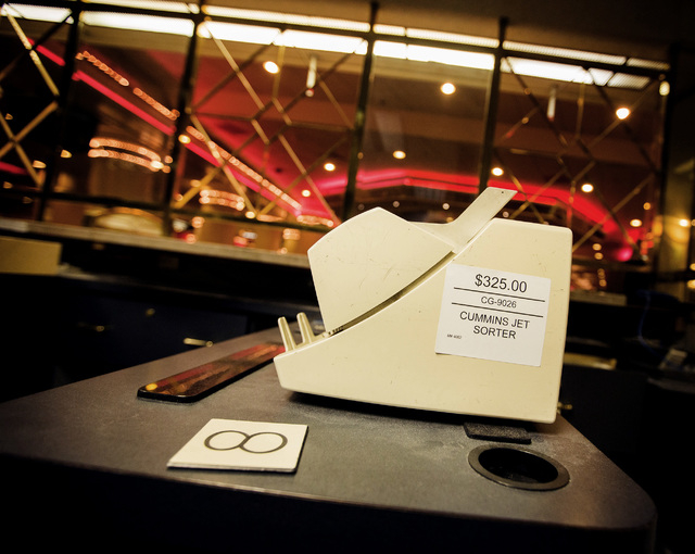 A money sorter is seen Wednesday, May 13, 2015 during the liquidation sale at the closed Riviera hotel-casino, 2901 South Las Vegas Boulevard. Former employees were able to purchase merchandise ea ...