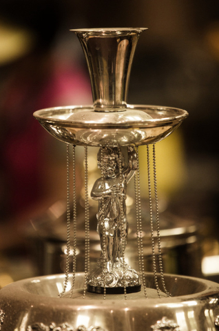 A champagne fountain is seen Wednesday, May 13, 2015 during the liquidation sale at the closed Riviera hotel-casino, 2901 South Las Vegas Boulevard. Former employees were able to purchase merchand ...
