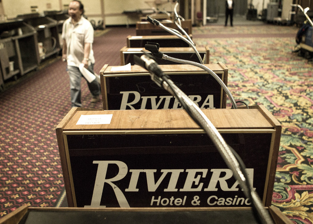 Lecterns is seen Wednesday, May 13, 2015 during the liquidation sale at the closed Riviera hotel-casino, 2901 South Las Vegas Boulevard. Former employees were able to purchase merchandise early. ( ...