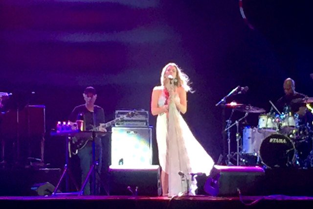 British singer Joss Stone ended her set that ended by tossing flowers into the crowd at Rock in Rio USA Saturday night, May 16, 2015. (Christopher Lawrence/Las Vegas Review-Journal)