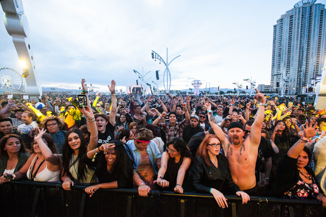 Attendees react as FTampa performs at the EDM stage during the Rock in Rio music festival in Las Vegas on Friday, May 8, 2015. (Chase Stevens/Las Vegas Review-Journal) Follow Chase Stevens on Twit ...