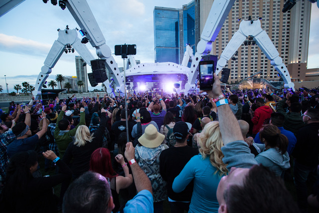 Attendees watch as FTampa performs at the EDM stage during the Rock in Rio music festival in Las Vegas on Friday, May 8, 2015. (Chase Stevens/Las Vegas Review-Journal) Follow Chase Stevens on Twit ...