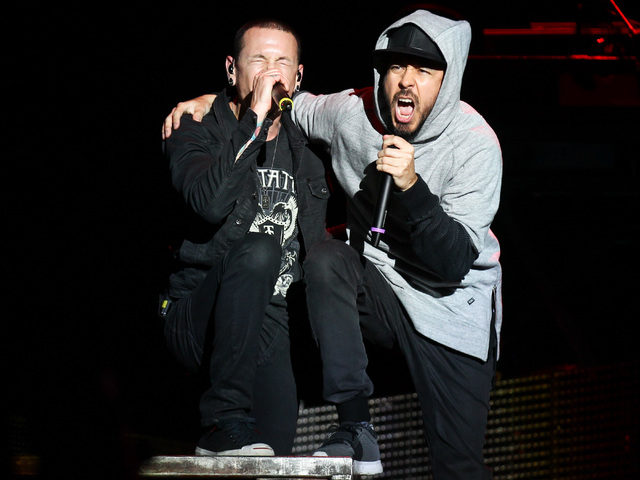 Chester Bennington, left, and Mike Shinoda of Linkin Park performs at the main stage during the Rock in Rio USA music festival in Las Vegas on Saturday, May 9, 2015. (Chase Stevens/Las Vegas Revie ...