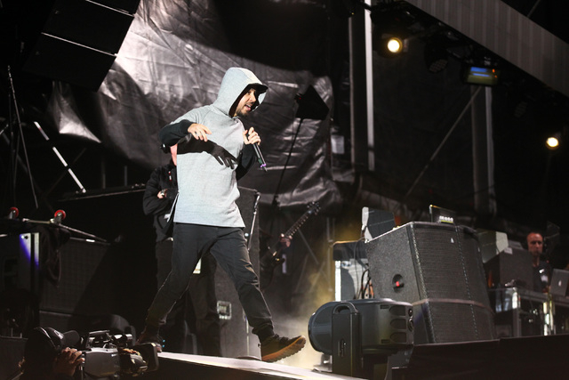 Mike Shinoda of Linkin Park performs at the main stage during the Rock in Rio USA music festival in Las Vegas on Saturday, May 9, 2015. (Chase Stevens/Las Vegas Review-Journal) Follow Chase Steven ...