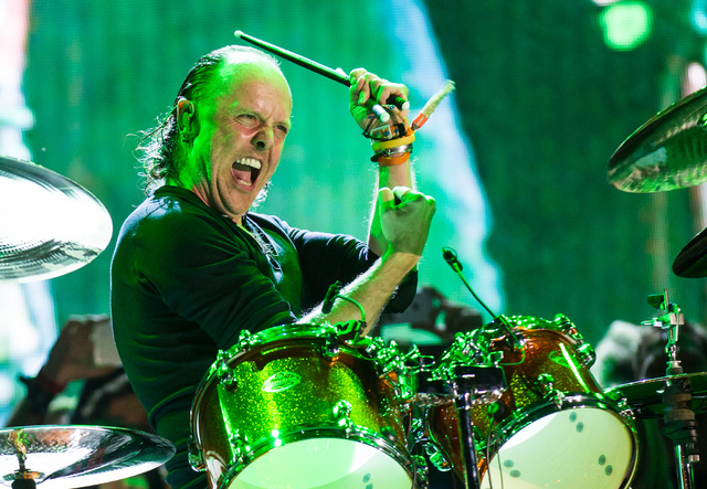 Lars Ulrich of Metallica performs at the main stage during the Rock in Rio USA music festival in Las Vegas on Saturday, May 9, 2015. (Chase Stevens/Las Vegas Review-Journal) Follow Chase Stevens o ...