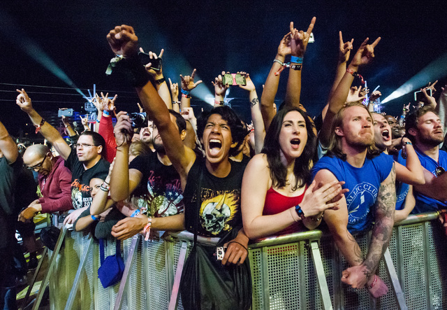 Fans cheer as Metallica performs at the main stage during the Rock in Rio USA music festival in Las Vegas on Saturday, May 9, 2015. (Chase Stevens/Las Vegas Review-Journal) Follow Chase Stevens on ...