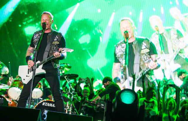 James Hetfield of Metallica performs at the main stage during the Rock in Rio USA music festival in Las Vegas on Saturday, May 9, 2015. (Chase Stevens/Las Vegas Review-Journal) Follow Chase Steven ...
