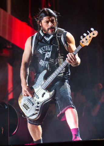Robert Trujillo of Metallica performs at the main stage during the Rock in Rio USA music festival in Las Vegas on Saturday, May 9, 2015. (Chase Stevens/Las Vegas Review-Journal) Follow Chase Steve ...