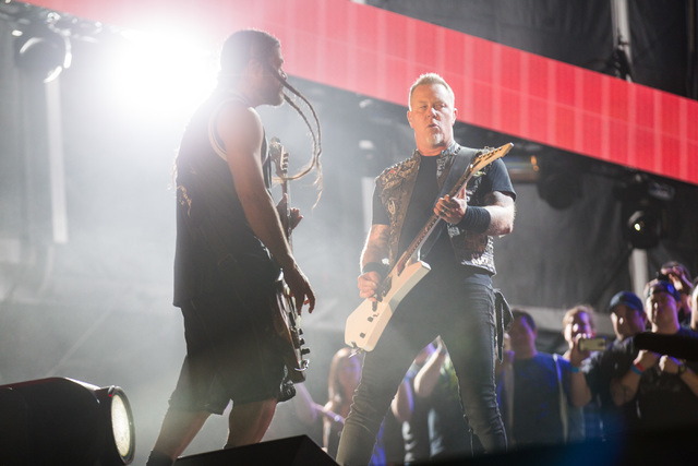 Robert Trujillo, left, and James Hetfield of Metallica perform at the main stage during the Rock in Rio USA music festival in Las Vegas on Saturday, May 9, 2015. (Chase Stevens/Las Vegas Review-Jo ...
