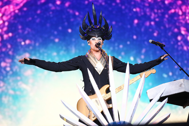 Luke Steele of Empire of the Sun performs at the main stage during the Rock in Rio USA music festival in Las Vegas on Saturday, May 16, 2015. (Chase Stevens/Las Vegas Review-Journal) Follow Chase  ...