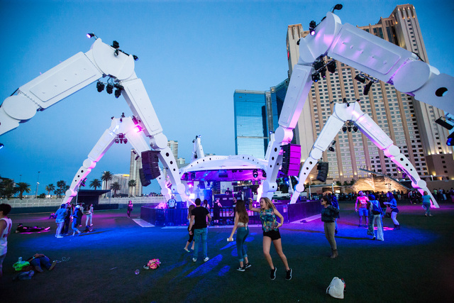 Attendees dance around at the EDM stage during the Rock in Rio USA music festival in Las Vegas on Saturday, May 16, 2015. (Chase Stevens/Las Vegas Review-Journal) Follow Chase Stevens on Twitter @ ...