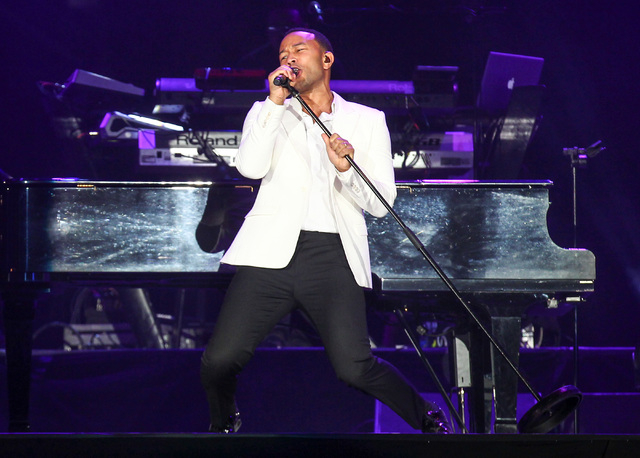 John Legend performs on the main stage during the Rock in Rio USA music festival in Las Vegas on Saturday, May 16, 2015. (Chase Stevens/Las Vegas Review-Journal) Follow Chase Stevens on Twitter @c ...