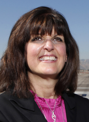 Clark County Director Of Aviation Rosemary Vassiliadis poses for a portrait on the east west runway at McCarran International Airport in Las Vegas Wednesday, Oct. 29, 2014. The east west runway at ...