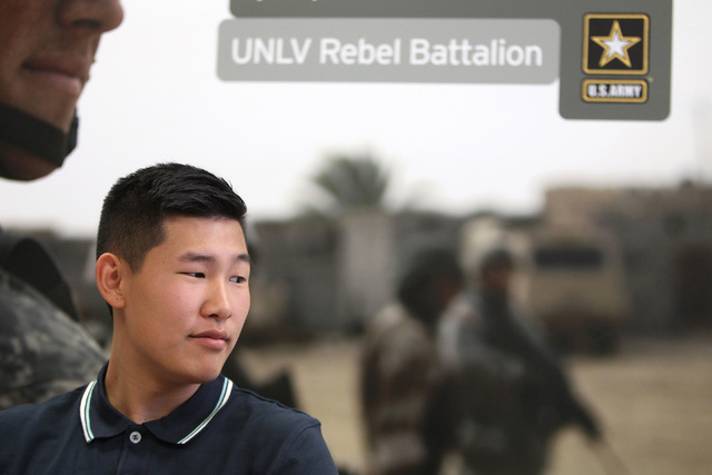 Shadow Ridge senior Joshua Han talks about his scholarship to UNLV to join the Army Reserve Officers' Training Corps Thursday, May 7, 2015. (Sam Morris/Las Vegas Review-Journal) Follow Sam Morris  ...