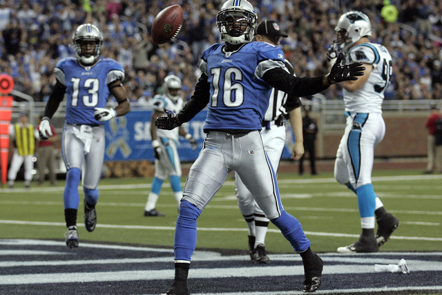 Detroit Lions wide receiver Titus Young celebrates in the end zone his touchdown against the Carolina Panthers during the first half of their NFL football game in Detroit, Michigan November 20, 20 ...