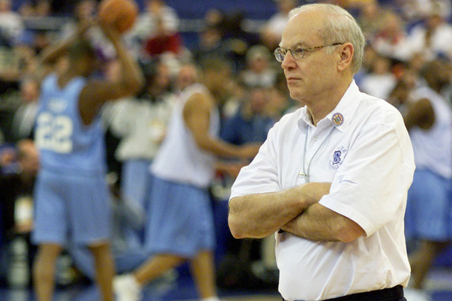 Former North Carolina coach Bill Guthridge is seen in this file photo presiding over his team's afternoon workout on March 31, 2000. Guthridge, who also served 30 years as an assistant to Dean Smi ...