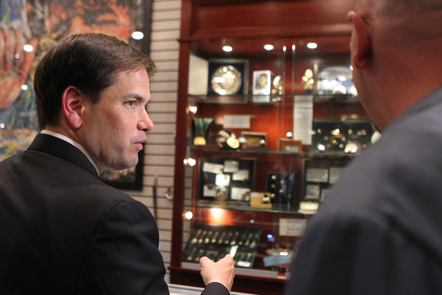 Republican presidential candidate U.S. Sen. Marco Rubio, R-Fla., tours the World Famous Gold & Silver Pawn Shop in Las Vegas on Thursday, May 28, 2015. (Erik Verduzco/Las Vegas Review-Journal) Fol ...