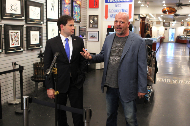 Rick Harrison, right, co-owner of World Famous Gold & Silver Pawn Shop, introduces Republican presidential candidate U.S. Sen. Marco Rubio, R-Fla., for a press conference at the World Famous Gold  ...