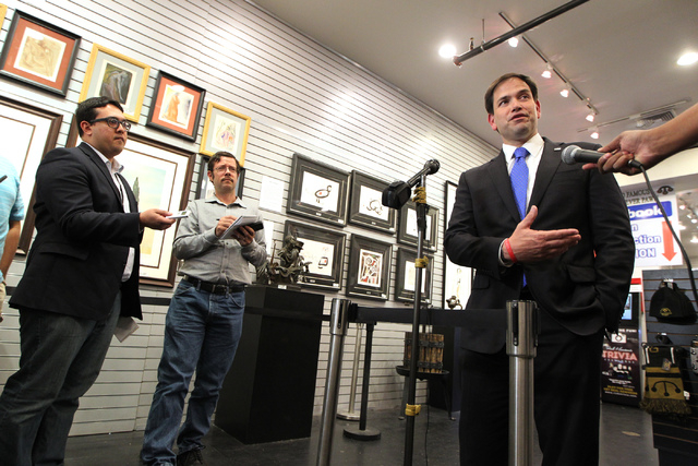 Republican presidential candidate U.S. Sen. Marco Rubio, R-Fla., speaks during a press conference at the World Famous Gold & Silver Pawn Shop in Las Vegas on Thursday, May 28, 2015. (Erik Verduzco ...
