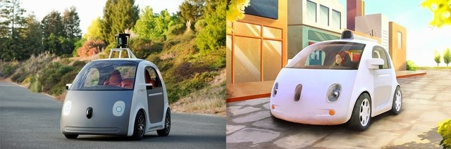 """An early version of Google's self-driving car prototype was revealed on May 27, 2014 in California. The car doesn't have a steering wheel and pedals, because, Google says, """"it doesn't need them.""""  ..."""