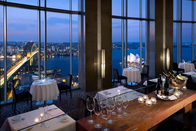 Set on the 36th floor of the Shangri-La, Blu Bar offers striking panoramas of Darling Harbour, Sydney Harbour Bridge and the Opera House. (Shangri-La Hotel Sydney/CNN)
