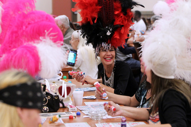 Former showgirl Troy Stern laughs while playing with other former showgirls during a bingo session at the Fiesta Rancho Wednesday, April 22, 2015. (Sam Morris/Las Vegas Review-Journal) Follow Sam  ...