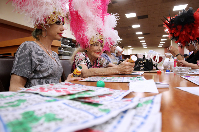 Former showgirls Julie Language, left, and Gloria white take part in a bingo session at the Fiesta Rancho Wednesday, April 22, 2015. (Sam Morris/Las Vegas Review-Journal) Follow Sam Morris on Twit ...