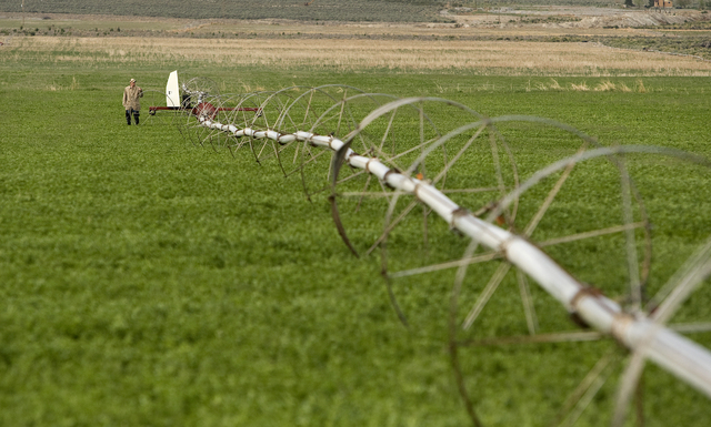 Matt Pickering stands next to an irrigation rig in a field on a Spring Valley ranch owned by the Southern Nevada Water Authority (SNWA) in White Pine County, Nev. (John Locker/Las Vegas Review-Jou ...