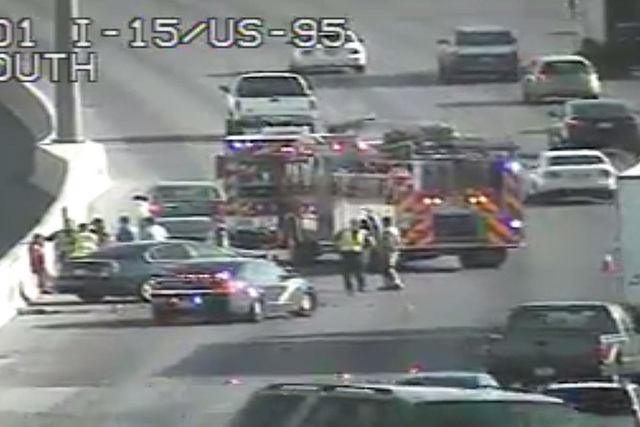 A crash near the Spaghetti Bowl is blocking two lanes on Interstate 15 heading south. (Courtesy)