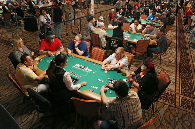 The Casino Employees No-Limit Holdem event takes place during the World Series of Poker at Rio hotel-casino Wednesday, May 27, 2015, in Las Vegas. Wednesday kicked off the start of the 46th annual ...