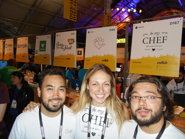 Owners of BeMyChef, from left, Gilson Gil, Pri Bohlsen and Rafa Prada of Brasil pose at the Collision Conference at World Market Center on Tuesday, May 5, 2015. The conference was held to allow st ...