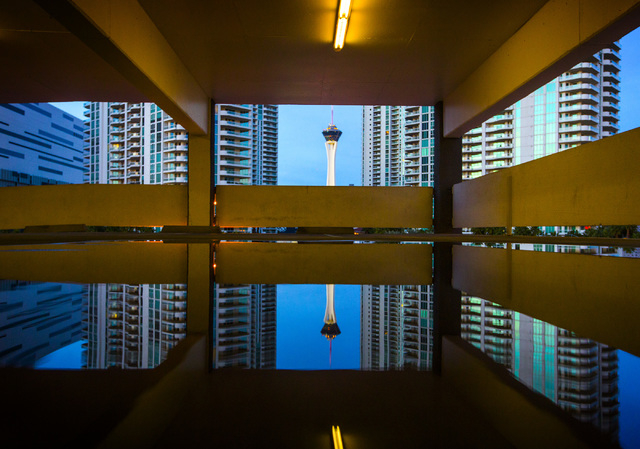 A reflection of the Stratosphere Tower taken Thursday, Feb. 4, 2014 from the Rivieria Las Vegas hotel-casino parking garage.  (Jeff Scheid/Las Vegas Review-Journal)