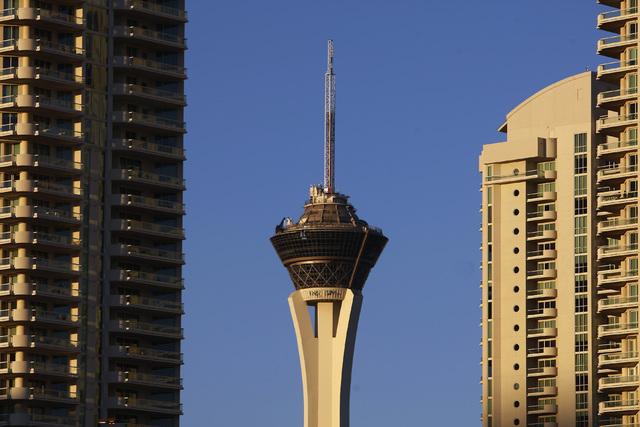 The Stratosphere tower is seen Friday, Jan. 2, 2015. (Sam Morris/Las Vegas Review-Journal)