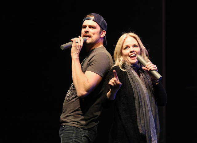 "Singers Brandon Albright, left, and Sandra Huntsman perform during a rehearsal of ""Keepin' It Country"" at Spring Mountain Ranch outdoor theater Monday, May 11, 2015, outside of Las Vegas ..."