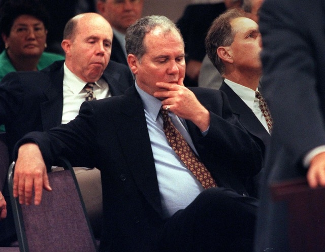 Casino operator Ted Binion listens during a Nevada Gaming Commission hearing on Thursday, May 22, 1997, while his brother, Jack, sits and listens behind him. (Jeff Scheid/Las Vegas Review-Journal)