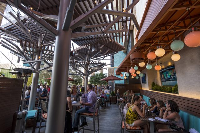 The outdoor dining area at Tom's Urban inside New York-New York in Las Vegas on Saturday, May 23, 2015. (Joshua Dahl/Las Vegas Review-Journal)
