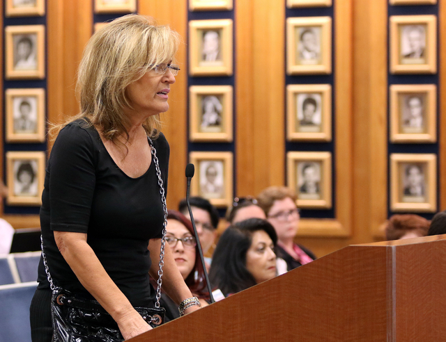 Linda Peterson voices her concerns about transgender students and bathroom policies during a public comment portion of a Clark County School Board meeting Thursday, May 28, 2015, in Las Vegas. (Ro ...