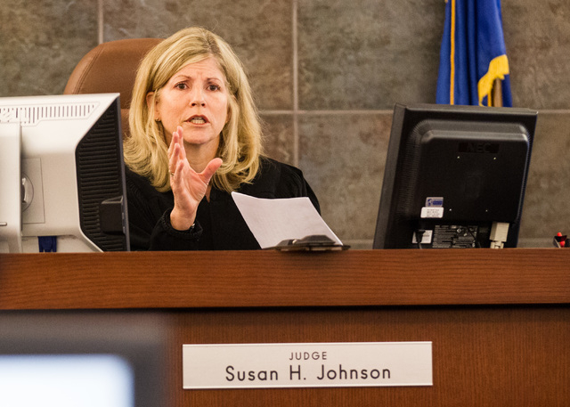 Judge Susan Johnson speaks before opening statements for the trial of Steven Ficano at the Regional Justice Center in Las Vegas on Wednesday, May 27, 2014. Ficano, who has a medical marijuana lice ...