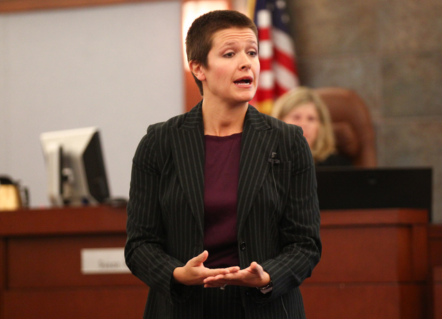 Prosecutor Lindsey Moors speaks during opening statements for the trial of Steven Ficano at the Regional Justice Center in Las Vegas on Wednesday, May 27, 2014. Ficano, who has a medical marijuana ...
