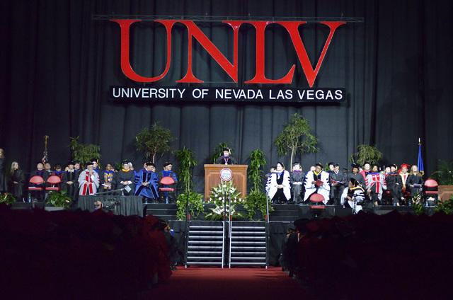UNLV president Len Jessup speaks during UNLV graduation ceremonies at the Thomas & Mack Center at 4505 S. Maryland Parkway in Las Vegas on Saturday, May 16, 2015. (Bill Hughes/Las Vegas Review-Jou ...