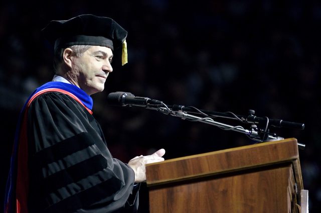 UNLV president Len Jessup is shown during UNLV graduation ceremonies at the Thomas & Mack Center at 4505 S. Maryland Parkway in Las Vegas on Saturday, May 16, 2015. (Bill Hughes/Las Vegas Review-J ...