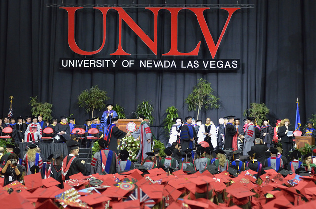 The interior of the Thomas & Mack Center is shown during UNLV graduation ceremonies on the campus at 4505 S. Maryland Parkway in Las Vegas on Saturday, May 16, 2015. (Bill Hughes/Las Vegas Review- ...