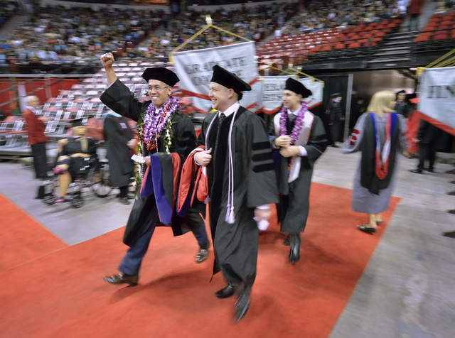 Students enter the Thomas & Mack Center during UNLV graduation ceremonies on the campus at 4505 S. Maryland Parkway in Las Vegas on Saturday, May 16, 2015. (Bill Hughes/Las Vegas Review-Journal)
