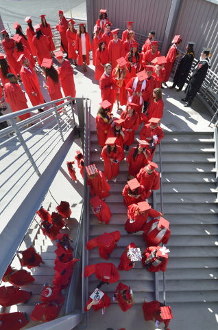 Students wait to enter the Thomas & Mack Center during UNLV graduation ceremonies on the campus at 4505 S. Maryland Parkway in Las Vegas on Saturday, May 16, 2015. (Bill Hughes/Las Vegas Review-Jo ...